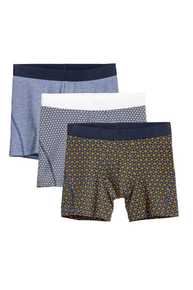 3-pack mid trunks - Dark blue/Multicoloured - Men | H&M