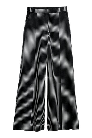 Wide trousers with slits - Black/White striped - Ladies | H&M