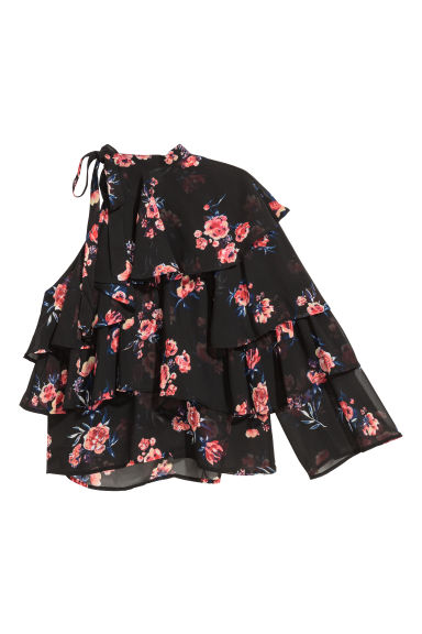 One-shoulderbloes - Zwart/bloemen -  | H&M BE