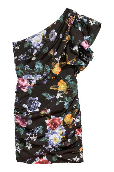 Draped dress - Black/Floral - Ladies | H&M