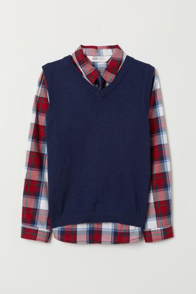 Shirt and slipover - Dark blue/Red checked - Kids   H&M GB