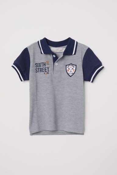 Polo shirt with appliqués - Grey/Dark blue - Kids | H&M CN