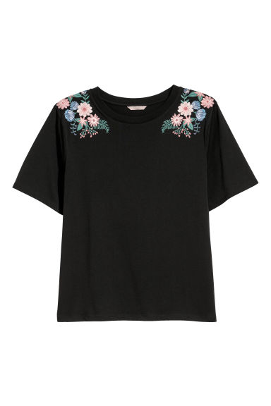 H&M+ T-shirt with appliqués - Black/Embroidery - Ladies | H&M CN