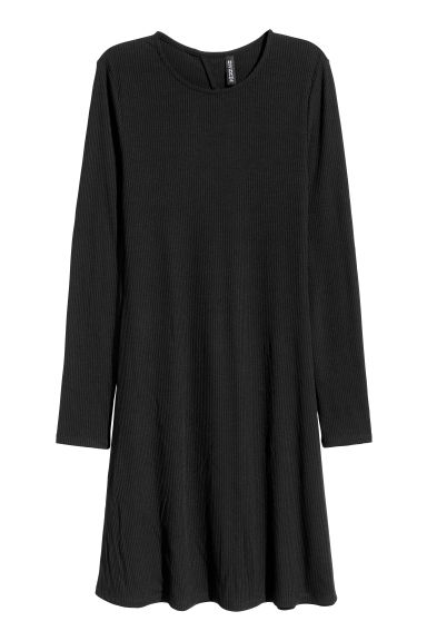 Abito in jersey a costine - Nero - DONNA | H&M IT