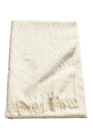 Jacquard-patterned blanket - Light beige -  | H&M CN