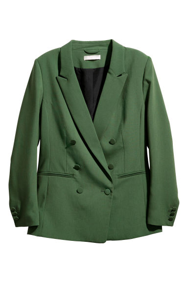 Double-breasted jacket - Dark green - Ladies | H&M CN 1