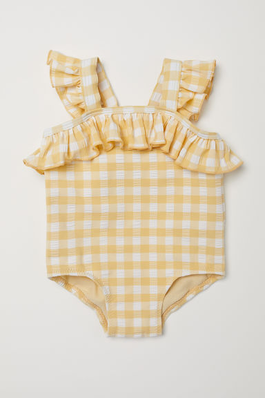 Swimsuit with frills - Light yellow/Checked - Kids | H&M CN