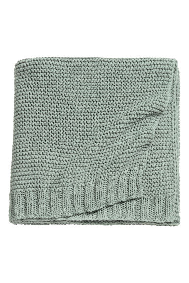 Knitted cotton-blend blanket - Dusky green - Home All | H&M CN