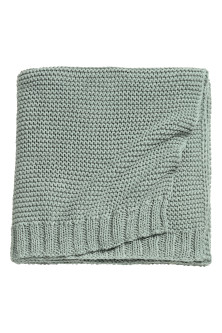 Knitted cotton-blend blanket