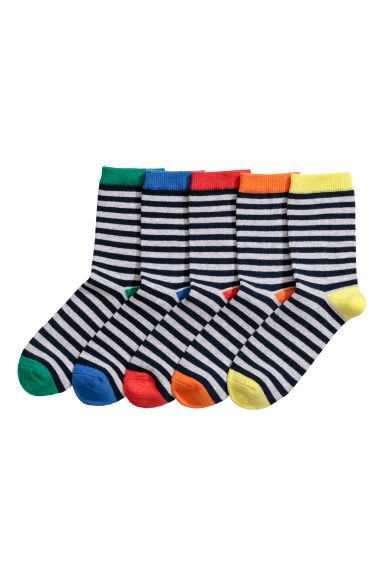 Pack de 5 calcetines - Azul oscuro/Rayas grises - NIÑOS | H&M ES