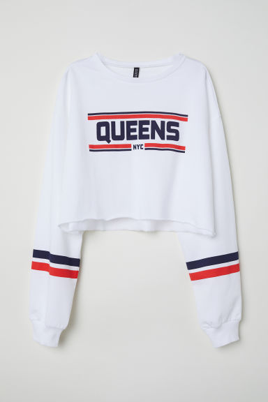 Cropped sweatshirt - White/NYC - Ladies | H&M CN