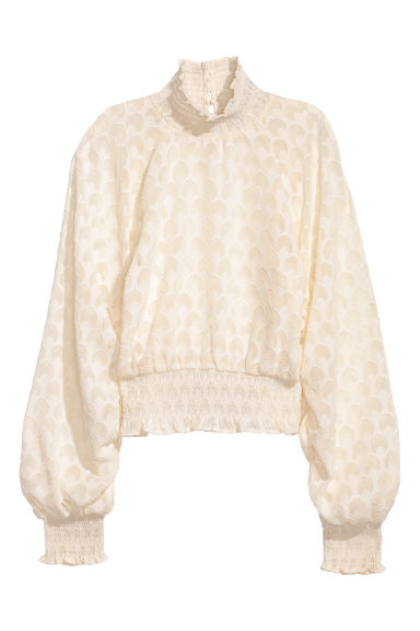 Frilled blouse - Natural white/Floral - Ladies | H&M