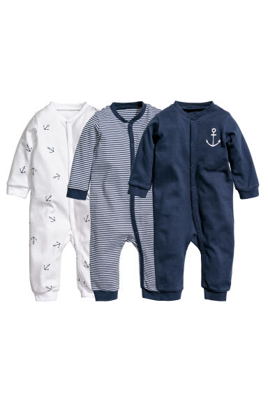 3-pack all-in-one pyjamas - Dark blue/Striped - Kids | H&M