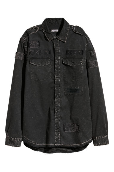 Shirt with bleached details - Black/Bleached -  | H&M