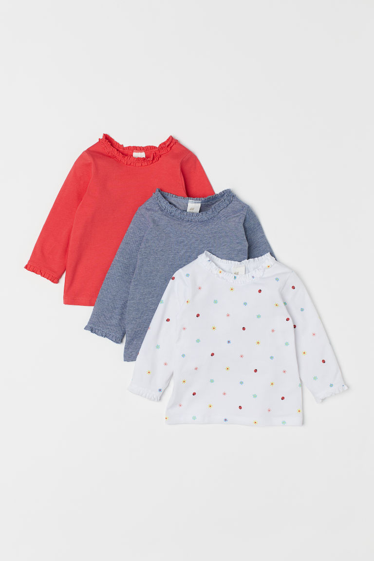 3-pack long-sleeved tops - White/Floral - Kids | H&M GB