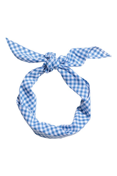 Cotton hairband - Blue/Checked - Kids | H&M CN