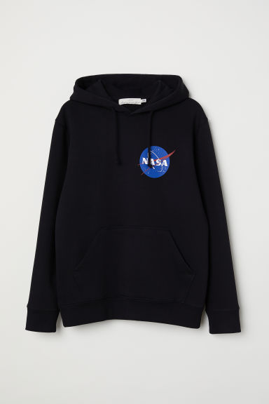 Hooded top with a motif - Black/NASA - Men | H&M