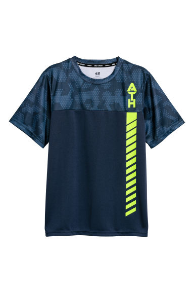 Short-sleeved sports top - Dark blue -  | H&M