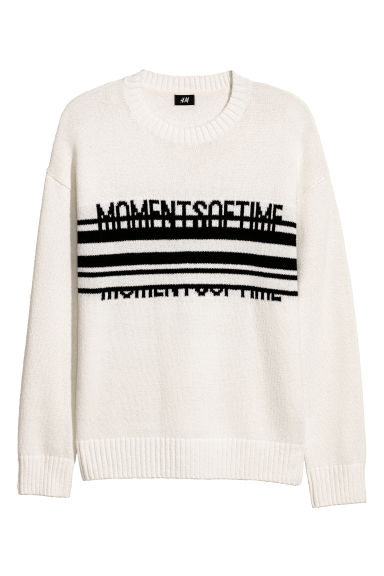 Jacquard-knit jumper - White -  | H&M