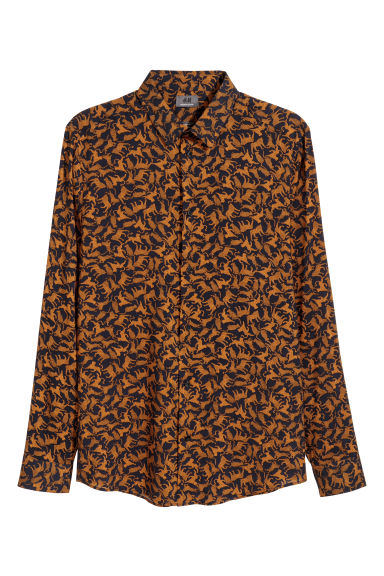 Patterned shirt Slim fit - Dark blue/Cats -  | H&M