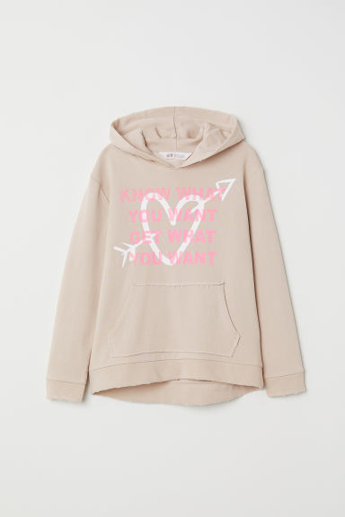 Printed hooded top - Beige/Heart - Kids | H&M CN