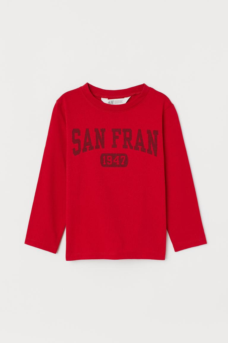 Printed jersey top - Red/San Fran - Kids   H&M GB
