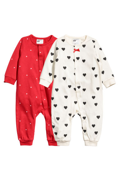 2-pack all-in-one pyjamas - Red -  | H&M CN