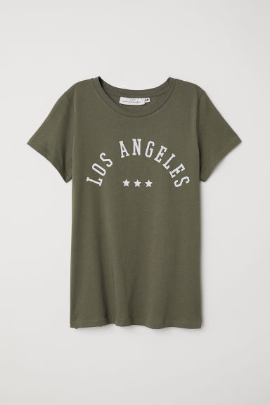 Printed T-shirt - Dark khaki green - Ladies | H&M GB