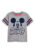 Printed T-shirt - Grey marl/Mickey Mouse - Kids | H&M CN 1