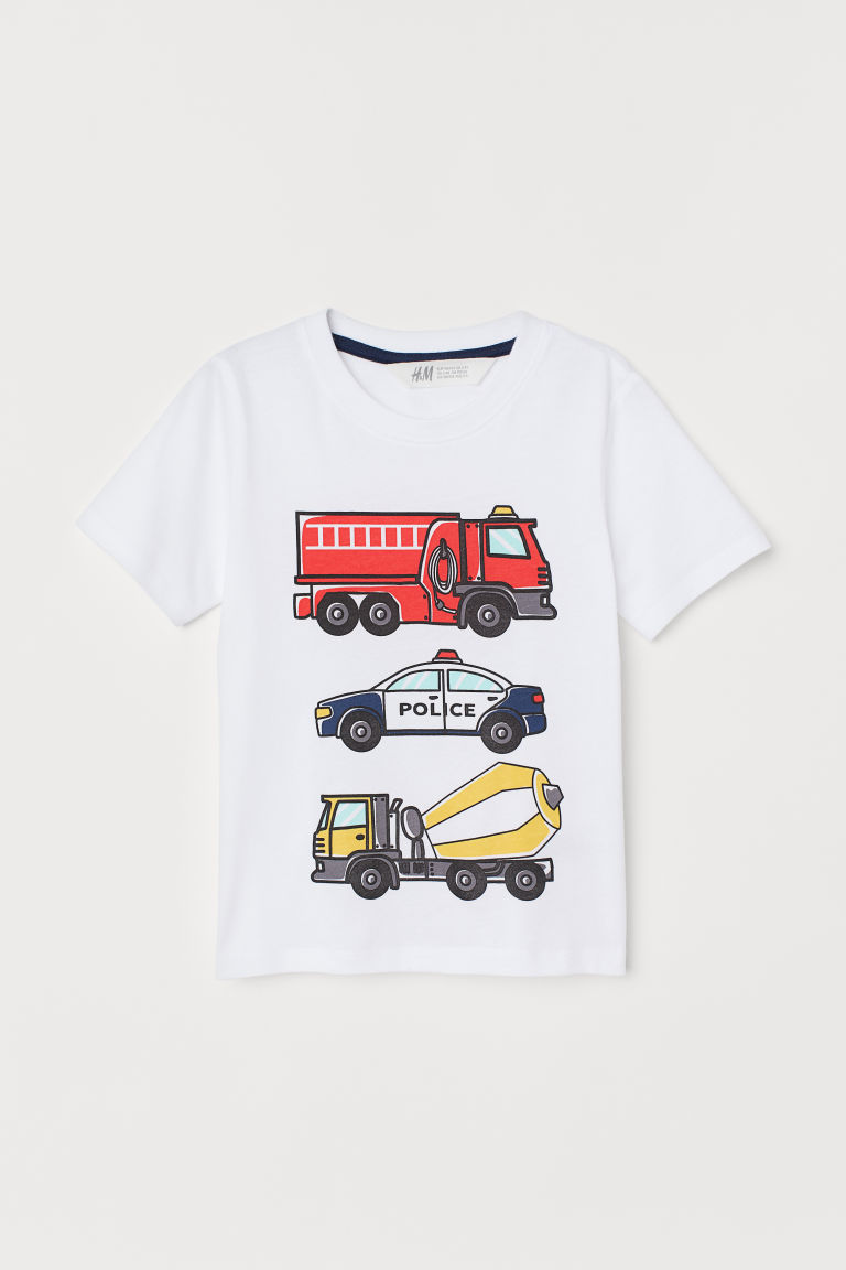 Printed T-shirt - White/Vehicles - Kids   H&M GB