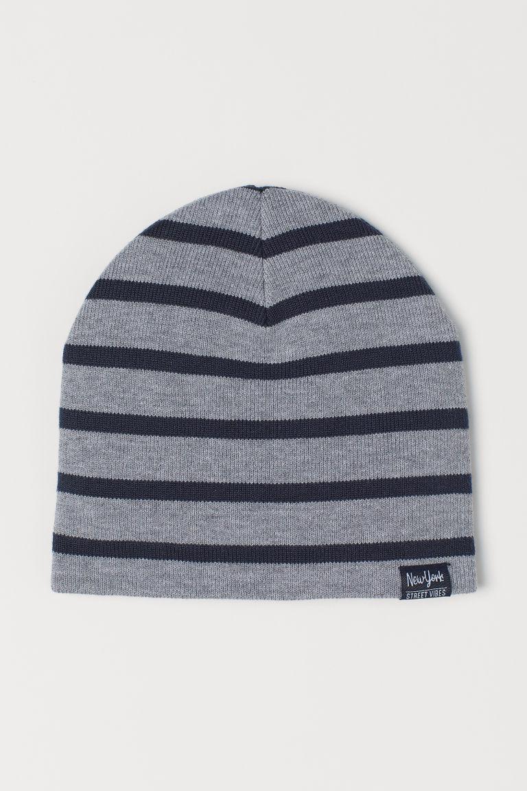 Fine-knit hat - Grey marl/Striped - Kids | H&M GB