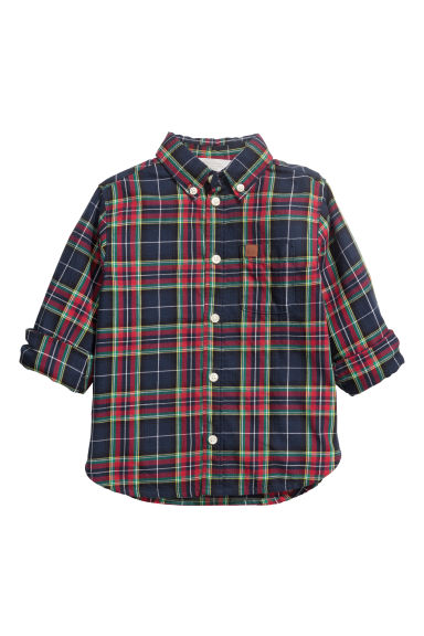 Cotton shirt - Dark blue/Red checked -  | H&M
