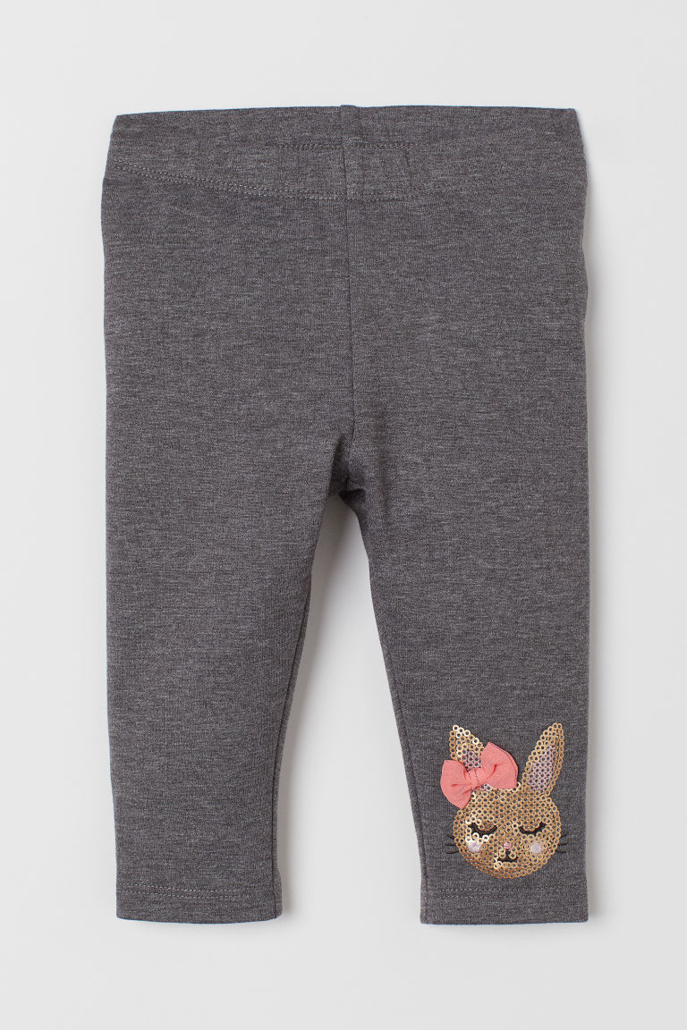Leggings with a motif - Dark grey marl/Rabbit - Kids | H&M GB