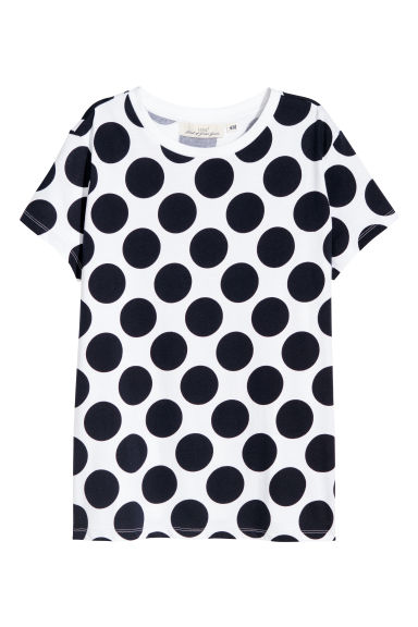 Printed T-shirt - White/Blue spotted - Ladies | H&M GB