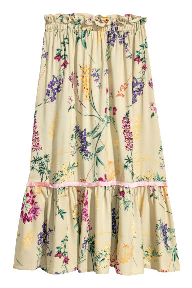 Calf-length skirt - Light green/Floral - Ladies | H&M CN