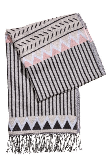 Jacquard-weave scarf - Grey/Patterned - Ladies | H&M