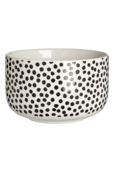 Porcelain bowl - White/Black spotted - Home All | H&M CN