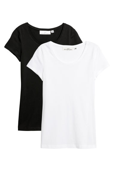 2-pack short-sleeved tops - Black/White - Ladies | H&M CN
