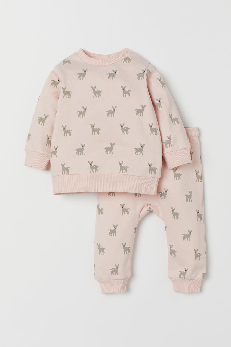 Sweatshirt and trousers - Powder pink/Deer - Kids | H&M GB