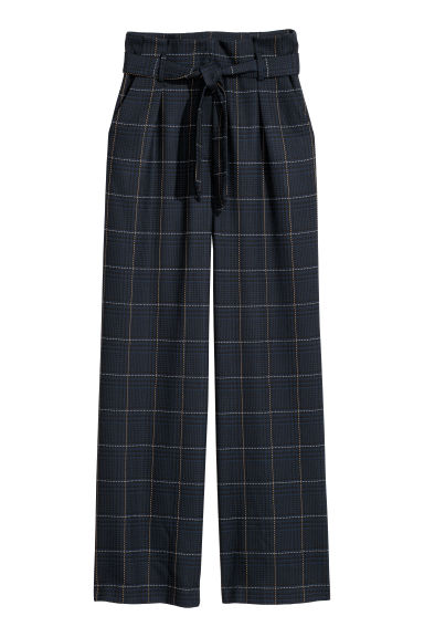 Paper bag trousers - Dark blue/Checked -  | H&M IE