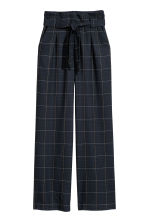 Wide trousers - Dark blue/Checked - Ladies | H&M CN 2