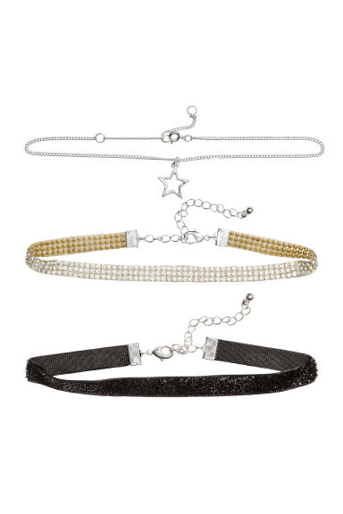 Three-strand necklace - Silver-coloured/Black - Kids | H&M CN