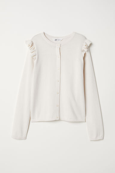 Fine-knit frilled cardigan - Natural white -  | H&M CN