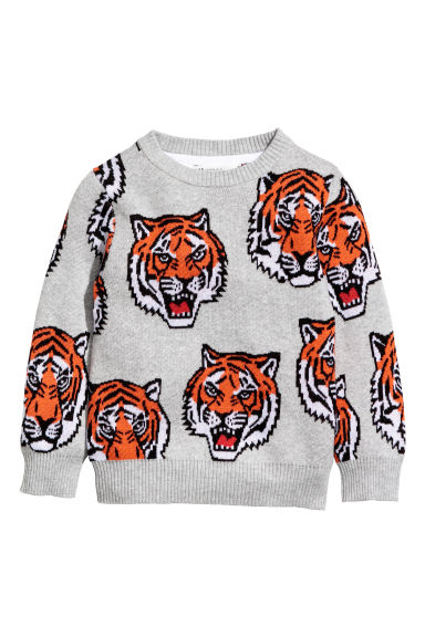 Jacquard-knit jumper - Grey/Tigers - Kids | H&M