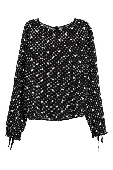 Patterned blouse - Black/White spotted - Ladies | H&M