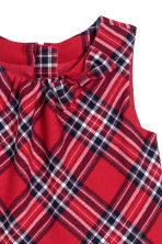 Bow-detail flannel dress - Red/Checked -  | H&M CN 3