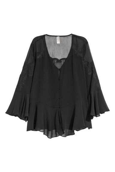Wide chiffon blouse - Black -  | H&M IE