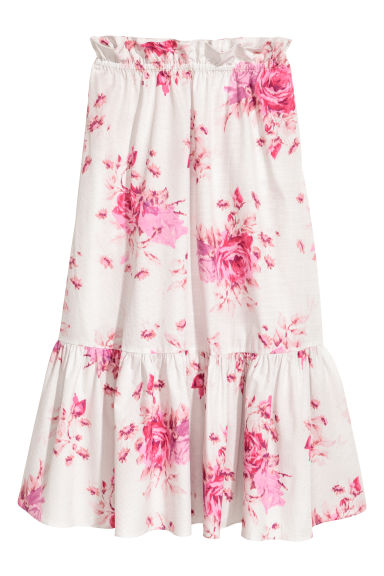 Calf-length skirt - Powder pink/Floral - Ladies | H&M