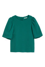 Puff-sleeved blouse - Emerald green - Ladies | H&M 1