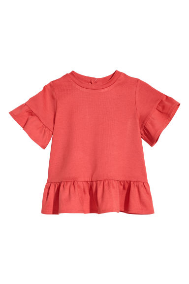 Flounce-sleeved top - Red - Kids | H&M CN